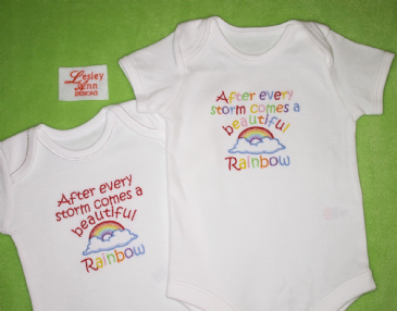 After a storm comes a beautiful rainbow embroidered baby bodysuit vest
